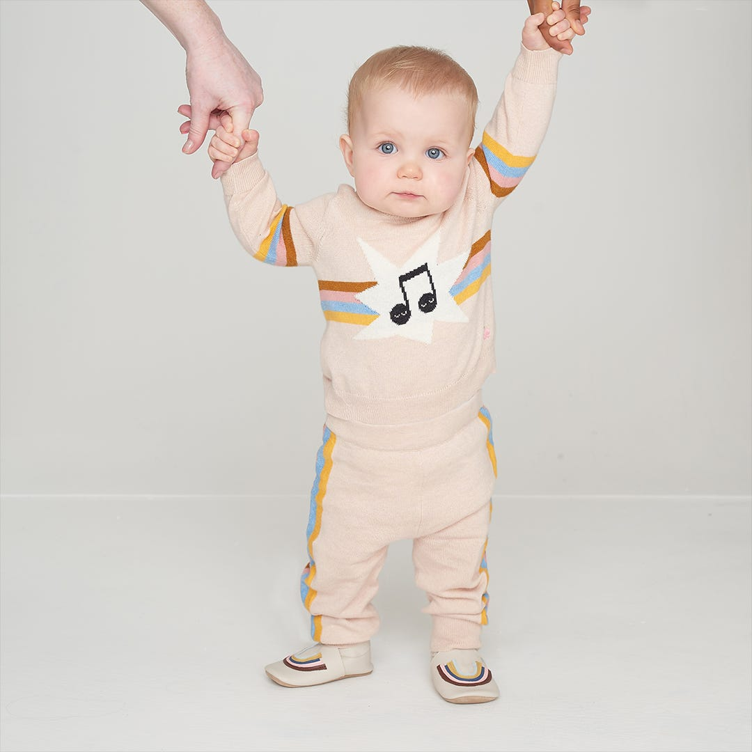 imagine rainbows pink baby sweater stripe sweatpants bobux bonnie mob soft sole shoes